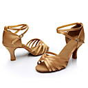cheap Earrings-Women's Latin Shoes / Ballroom Shoes Silk Sandal / Sneaker Buckle / Ribbon Tie Customized Heel Customizable Dance Shoes Silver / Brown /