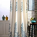 cheap Blackout Curtains-Curtains Drapes Bedroom Leaf Linen / Cotton Blend Embroidery