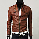 cheap Synthetic Capless Wigs-Men's Faux Fur / Faux Leather Slim Jacket - Solid Colored Stand / Long Sleeve