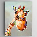 levne Abstraktní malby-Hang-malované olejomalba Ručně malované - Zvířata / Pop Art Moderní Plátno / Reprodukce plátna
