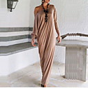 cheap Earrings-Women's Simple Cotton Loose Dress - Solid Colored Ruffle Maxi