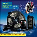 preiswerte LED Leuchtbänder-ZDM® 5m Lichtsets / Leuchtbänder RGB 150 LEDs 5050 SMD 1 x 12V 3A Adapter / 20-Tasten-Musik-Sound-Controller RGB Schneidbar / Party / Verbindbar 100-240 V 1 set / Für Fahrzeuge geeignet
