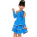 preiswerte Kindertanzkleidung-Latein-Tanz Austattungen Leistung Polyester Elasthan Rüschen Kleid Ärmel