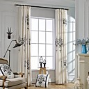 cheap Curtains Drapes-Curtains Drapes Bedroom Linen / Cotton Blend Embroidery