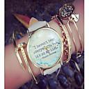hesapli Moda Saatler-Kadın's Quartz Kronograf PU Bant Sözlerle Saat Moda Siyah Beyaz Gri Pembe Bej