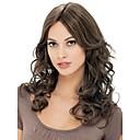 hesapli Sentetik Kapsız Peruklar-Sentetik Peruklar Bukle Sentetik Saç Kahverengi Peruk Kadın's Orta Bonesiz Kahverengi