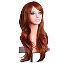 cheap Synthetic Capless Wigs-Capless Mix Color Long Length High Quality Natural  Curly Hair Synthetic Wigs with Side Bang