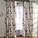 cheap Blackout Curtains-Curtains Drapes Bedroom Leaf Linen / Polyester Blend Print & Jacquard