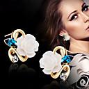 baratos Brincos-Mulheres Brincos Curtos - Flor Amarelo / Rosa claro / Azul Claro Para Casamento / Festa / Diário