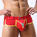 baratos Moda Íntima Exótica para Homens-Homens Sexy Boxer Curto - Estampado, Retalhos Cintura Média