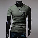 cheap Men's Boots-Men's Sports Cotton Slim T-shirt - Letter Print Round Neck / Short Sleeve
