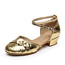 זול מתנות לחתונה-בגדי ריקוד נשים בלט / נעליים לטיניות / נעלי סלסה עדרים שטוחות / סנדלים עניבת פרפר עקב עבה ללא התאמה אישית נעלי ריקוד כסף / מוזהב
