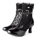 cheap Cartoon Duvet Covers-Women's Latin Shoes Lace / Leather Boots Rhinestone / Zipper Stiletto Heel Non Customizable Dance Shoes Black / Indoor