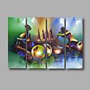 abordables Peintures de Paysages-Peinture à l'huile Hang-peint Peint à la main - Abstrait Moderne Inclure cadre intérieur / Quatre Panneaux / Toile tendue