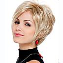 billige Syntetiske parykker uten hette-Syntetiske parykker Bølget Syntetisk hår Parykk Dame Kort Lokkløs Blond