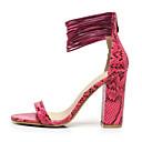 hesapli Kadın Düğün Ayakkabıları-Kadın's Ayakkabı Yapay Deri Yaz Kalın Topuk Elbise / Parti ve Gece için Fermuar Turuncu / Gri / Fuşya