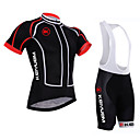 cheap Microphones-KEIYUEM Short Sleeve Cycling Jersey with Bib Shorts - Black Bike Jersey / Bib Tights / Padded Shorts / Chamois, Windproof, Waterproof, Quick Dry, Breathable Mesh, Fleece Lines / Waves / Stretchy