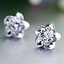 cheap Earrings-Stud Earrings - Pearl Flower Work, Birthstones Silver For
