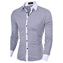 cheap Men's Necklaces-Men's Business Casual Cotton Slim Shirt - Solid Colored Classic Collar