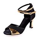 levne Boty na moderní tance-Boty na latinskoamerické tance Třpytky / Koženka Sandály Barevně dělené Rozšiřující se Obyčejné Taneční boty Černá a zlatá / Červená /