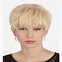 preiswerte Synthetische Perücken ohne Kappe-Synthetische Perücken Damen Wellen Blond Synthetische Haare Blond Perücke Kurz Kappenlos Blondine