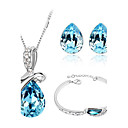 cheap Jewelry Sets-Women's Crystal Jewelry Set - Crystal Love Fashion Include Crystal Bracelet / Crystal Earrings / Crystal Jewelry Set Red / Green / Blue For Wedding / Party / Birthday / Crystal Necklace / Necklace