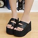baratos Sandálias Femininas-Mulheres Sapatos Courino Primavera / Verão Conforto Salto Plataforma Ziper Branco / Preto
