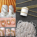 cheap Rhinestone & Decorations-1m manicure a metal chain of high quality small ball yuanzhu chain diy nail gold and silver decoration optional