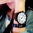 Недорогие Модные часы-Жен. Наручные часы Кварцевый Кожа Черный / Коричневый Повседневные часы Аналоговый Дамы Мода Элегантный стиль - Черный / Белый Черный Белый / Коричневый Один год Срок службы батареи / KC 377A