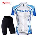 ราคาถูก ชุดเซทปั่นจักรยาน-TASDAN สำหรับผู้หญิง แขนสั้น Cycling Jersey with Shorts - สีน้ำเงินและสีขาว สีทึบ จักรยาน กางเกงขาสั้น เสื้อยืด แป้นสั้น ระบายอากาศ 3D Pad แห้งเร็ว แถบสะท้อนแสง กระเป๋าหลัง กีฬา สีทึบ / Road Cycling