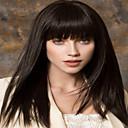 Недорогие Парик из искусственных волос без шапочки-Парики из искусственных волос Прямой Стиль С чёлкой Без шапочки-основы Парик Черный Искусственные волосы Жен. Парик Средние Парик для Хэллоуина