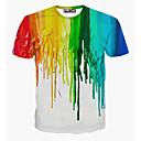 cheap Earrings-Men's Sports Active Cotton T-shirt - Rainbow Print Round Neck / Short Sleeve