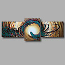 cheap Rolled Canvas Paintings-Oil Painting Hand Painted - Abstract Modern Stretched Canvas / Three Panels