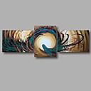 billige Abstrakte malerier-Hang malte oljemaleri Håndmalte - Abstrakt Moderne Inkluder indre ramme / Tre Paneler / Stretched Canvas