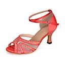 זול נעליים לטיניות-בגדי ריקוד נשים נעלי ריקוד בד גמיש נעליים לטיניות / נעלי סלסה ריינסטון / אבזם / הדפס חיות סנדלים / עקבים / נעלי ספורט עקב רחב מותאם אישית אדום / סגול / כחול רויאל / הצגה / עור / EU40