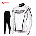 cheap Cycling Jersey & Shorts / Pants Sets-TASDAN Women's Long Sleeve Cycling Jersey with Tights White Solid Color Bike Pants / Trousers Jersey Tights Breathable 3D Pad Quick Dry Reflective Strips Back Pocket Winter Sports Solid Color