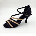 baratos Sapatos de Dança Latina-Mulheres Sapatos de Dança Latina Cetim Sandália Salto Agulha Personalizável Sapatos de Dança Preto / Dourado / Interior / Espetáculo