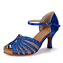 cheap Modern Shoes-Women's Latin Shoes Sparkling Glitter / Satin Sandal / Heel / Sneaker Sparkling Glitter / Buckle / Hollow-out Flared Heel Customizable Dance Shoes Red / Blue / Gold / Performance / Leather