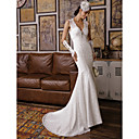 זול כפפות למסיבות-בתולת ים \ חצוצרה צווארון V שובל סוויפ \ בראש עשוי מתחרה פרחונית שמלות חתונה עם חרוזים / אפליקציות על ידי LAN TING BRIDE® / פתוח בגב