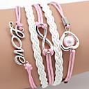 cheap Men's Bracelets-Women's Wrap Bracelet Leather Bracelet - Leather Heart, Love, Infinity Bracelet Pink For Daily Casual Sports