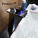billige Køkkenhaner-Håndvasken vandhane - Vandfald / LED Krom Vandret Montering Enkelt håndtag Et HulBath Taps