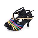 abordables Zapatos de Baile Latino-Mujer Zapatos de Salsa Satén Sandalia / Tacones Alto / Zapatilla Hebilla / Poroso Tacón Carrete Personalizables Zapatos de baile Negro / Oro / Rendimiento / Cuero