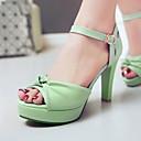 baratos Sandálias Femininas-Mulheres Sapatos Courino Verão Salto Agulha / Plataforma Verde / Azul / Rosa claro / Festas & Noite / Festas & Noite