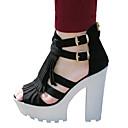 halpa Koristeelliset esineet-Naisten Kengät Kangas Kesä Paksu korko / Block Heel Soljilla / Vetoketjuilla / Tupsuilla Musta / Block Heel-sandaalit