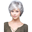 cheap Synthetic Wigs-Synthetic Wig Curly With Bangs Synthetic Hair Side Part / With Bangs Gray Wig Women's Short Capless
