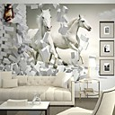 cheap Wallpaper-Contemporary 3D Shinny Leather Effect Large Mural Wallpaper White Horse Art Wall Decor