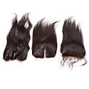 billige Kostymeparykk-Rett Helblonde 3.5X4 Lukking 100 % håndknyttet Sveitsisk blonde Ekte hår Gratis Part Midtre del 3 Del