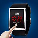 baratos Lustres-Homens Relógio Esportivo / Relogio digital Tela de toque / LED Silicone Banda Luxo / Fashion Prata / Aço Inoxidável