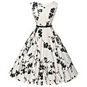 billige Festhovedtøj-Dame Vintage Bomuld Bukser - Blomstret Trykt mønster Hvid