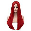 billige Syntetiske parykker-Syntetiske parykker Dame Rett Rød Syntetisk hår Rød Parykk Lang Lokkløs Rød
